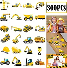 300PCS Construction Zone Party Favors Tattoos Temporary - Kids Construction Birthday Party Supplies Decorations Goodie Bags Stuffers Tractor Truck Body Stickers
