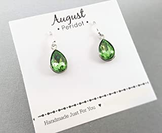 August Birthstone Earrings - Peridot Crystal Sterling Silver Teardrop Earrings - Gift for Her