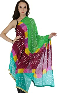 Exotic India Multicolored Bandhani Tie-Dye Crinkled Dupatta with Gota Border - Color Classic Green
