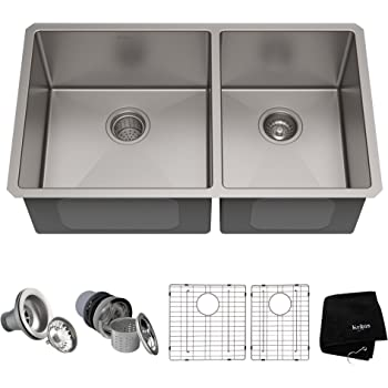 Kraus Standard PRO 33-Inch 16 Gauge Undermount 60/40 Double Bowl Stainless Steel Kitchen Sink, KHU103-33