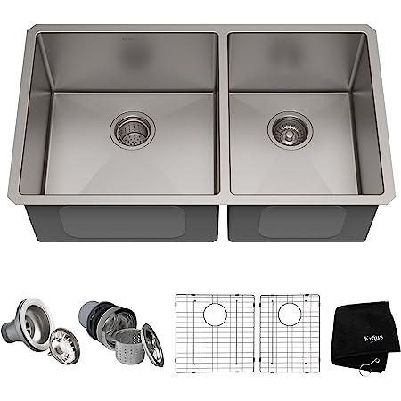 Kraus Standard Pro 33 Inch 16 Gauge Undermount 60 40 Double Bowl Stainless Steel Kitchen Sink Khu103 33 Amazon Com