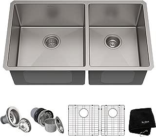 Kraus Standart PRO 33-inch 16 Gauge Undermount 60/40 Double Bowl Stainless Steel Kitchen Sink, KHU103-33
