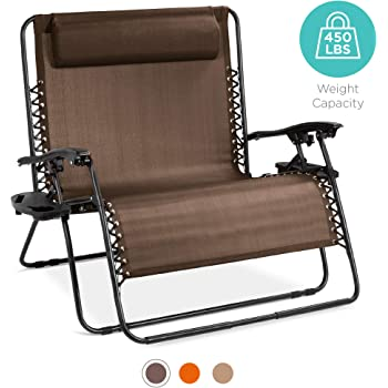 Amazon Com Best Choice Products 2 Person Double Wide Outdoor Folding Zero Gravity Chair Patio Lounger W Cup Holders Brown Garden Outdoor