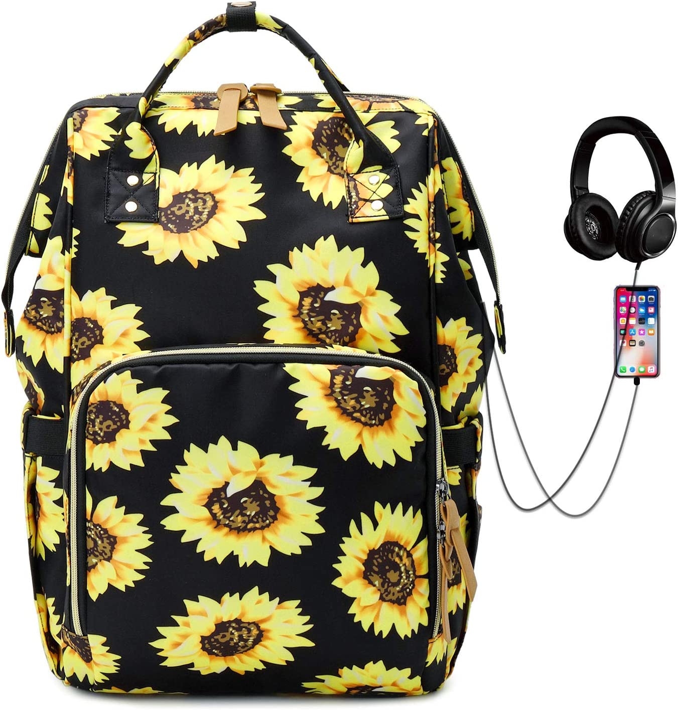 Laptop Backpack, Water Resistant College School Backpack with USB Charging Port, Travel Backpack Casual Daypacks for Women/Girls, Sunflower