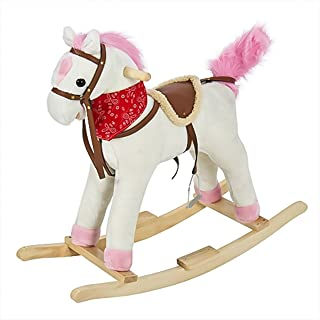 Best Choice Products Plush Rocking Horse Ride On Toy w/ Sounds, White