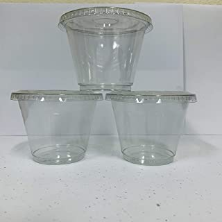 98sets Plastic Ultra Clear squat Cups with flat lids without x slotted is for Cupcake, icecream … (9oz dessert cup 98sets)