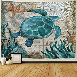 Sea Turtle Tapestry Nautical Blue Map Tapestry Wall Hanging Decor Fabric Ocean Creature Landscape Tapestry Bohemian Bedspread Bedding Bed Cover Picnic Blanket 40x60 Inches