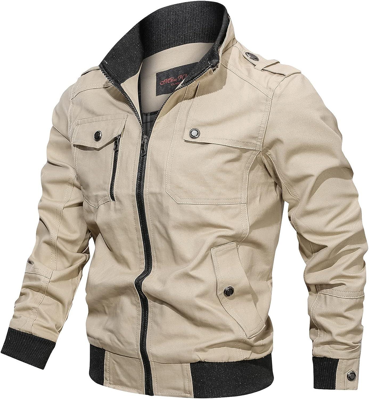 WUAI-Men Cotton Lightweight Military Jackets Multi Pockets Zip Up Stand Collar Windproof Casual Cargo Jacket Windbreaker