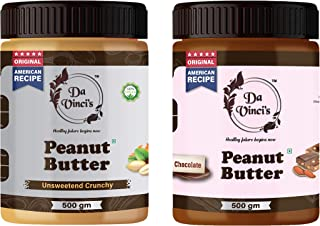 Da Vinci's Natural Peanut Butter Chocolate + Crunchy (500g+500g) 1 kg | Made with Roasted Peanuts, Cocoa Powder & Choco Ch...