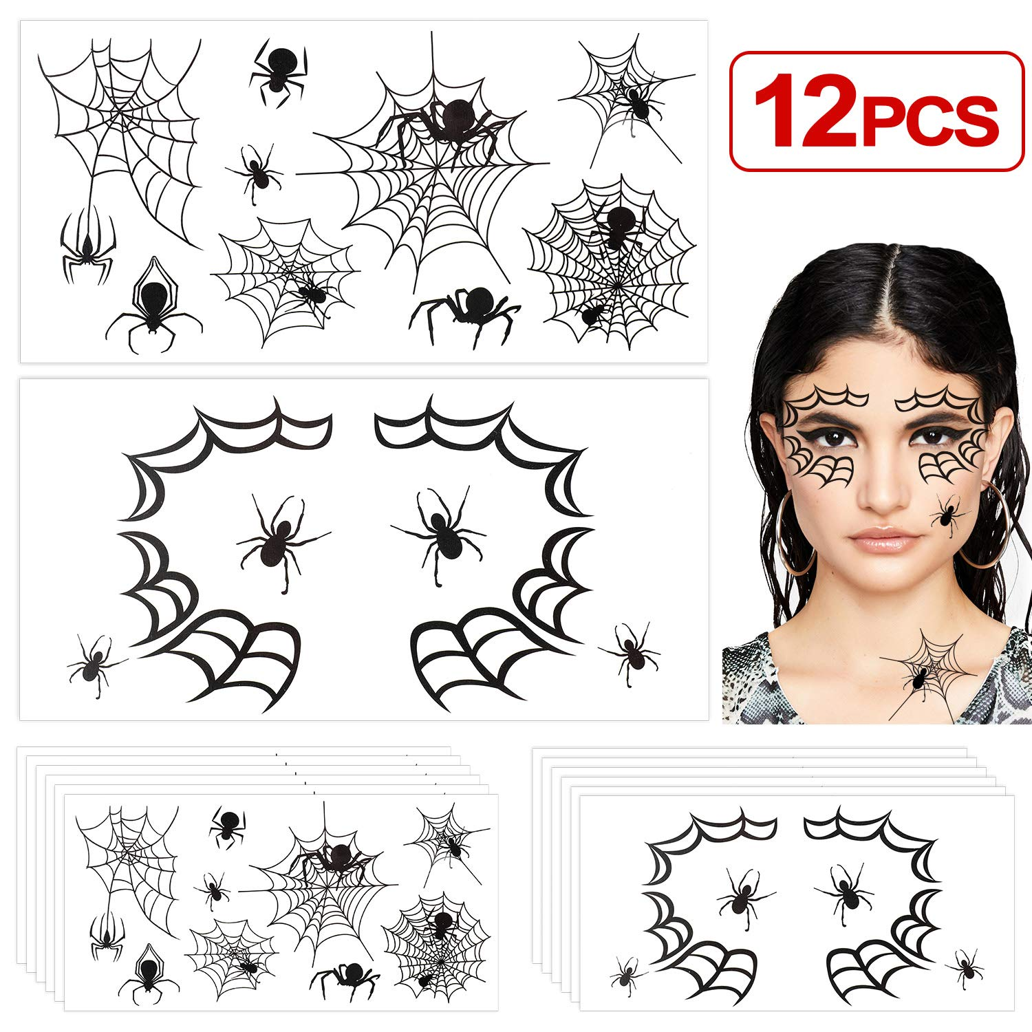 Spiderweb Forum Novelties Face Designs Stick on Accessory with Glitter and Crystals