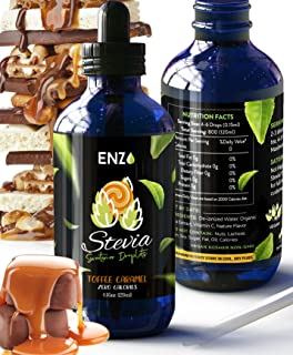 Enzo Toffee Caramel Stevia Drops 4oz Bottle 🍮 Our Zero Calories Sweetener is made with Organic Certified Stevias extract . All Natural flavoring with No Artificial Additives & Filler Ingredient