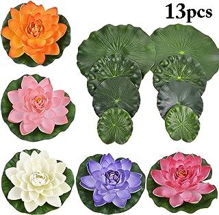 Legendog 13 UNIDS Plantas De Acuario Artificiales DecoracióN Del Tanque De Peces Espuma Decorativa Artificial Falsa Flor Flotante Con Hojas De Loto Falsas