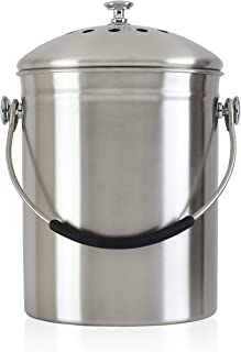 Gold Star Kitchens Compost Bin - Premium Quality SAE304 Surgical Grade Stainless Steel Pail - 1.3 Gal - Deluxe Silicone Handle - Dual Carbon Filter System Eliminates Odors - Includes 2 Bonus Filters