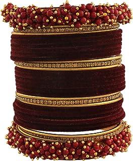 I Jewels 18K Gold Plated Traditional Maroon Velvet Chuda Bangle Set With Pearl Kada (ADB315M) (Pack of 1)