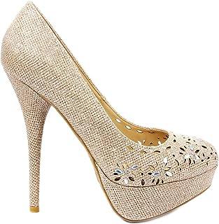 Corona03 Glitter Flower Cut Out Rhinestone High Heel Stiletto Platform Dress Pump Shoes