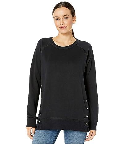 Jag Jeans Kristen Side Snap Crew Sweatshirt (Black) Women