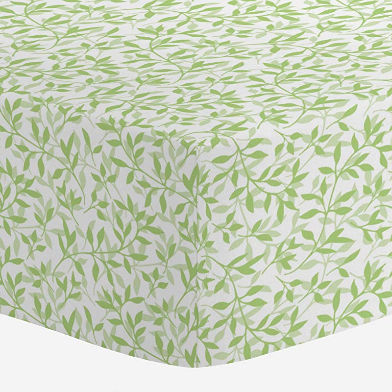 Carousel Designs Green Leaves Crib Sheet Organic 100 Cotton Fitted Crib Sheet Made In The USA