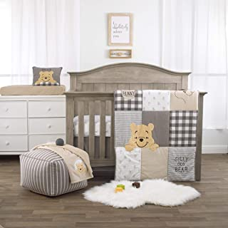 Disney Winnie The Pooh Hunny & Me - Grey, Marigold, White & Charcoal 3Piece Nursery Crib Bedding Set with Comforter, Fitte...