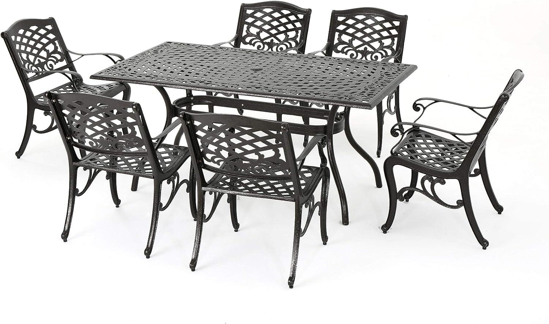 Christopher Knight Home Hallandale Outdoor Sarasota Cast Aluminum  Rectangular Dining Set, 10 Pcs Set, Hammered Bronze
