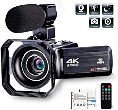 """Camcorder Video Camera Ultra HD 4K 30MP Camcorder Camera with Microphone & Remote Control 3.0"""" IPS Touch Screen Vlogging Camera for YouTube"""