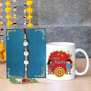TIED RIBBONS Raksha Bandhan Rakhi for Brother with Gift - Handmade Rakhi for Brother Rakhi Coffee Mug with Wishes Card