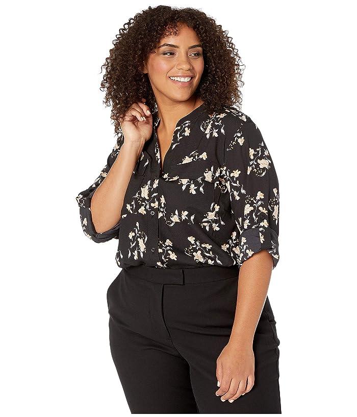 Plus Size Printed Roll Sleeve Blouse (Black/Multi) Women's Blouse