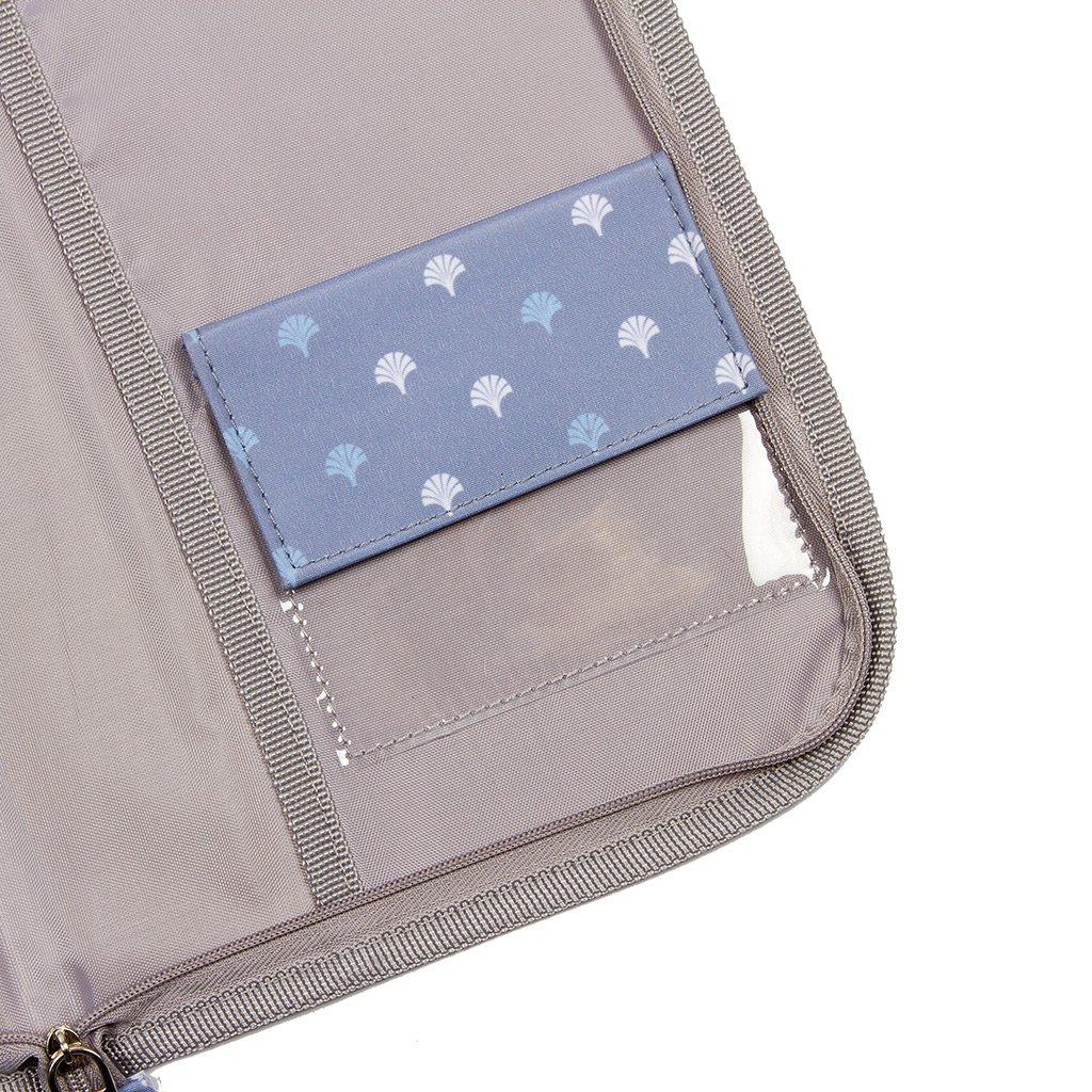 Kiwisac Portadocumentos Beb/é Trendy Grey Palmira Cierre con cremallera Original y Divertido 24x17 cm Color Gris y Azul Guarda Calendario de Vacunas Beb/é y Documentos del Beb/é