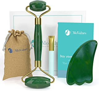 Authentic Jade Roller and Gua Sha Set - Jade Roller for Face - Face Roller, Real 100% Jade - Face Massager for Wrinkles, Anti Aging Facial Massager - Authentic, Natural, Durable, Noiseless
