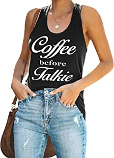ZJP Womens Coffee Before Talkie Sleeveless Letter Print Vest Racerback Tank Tops