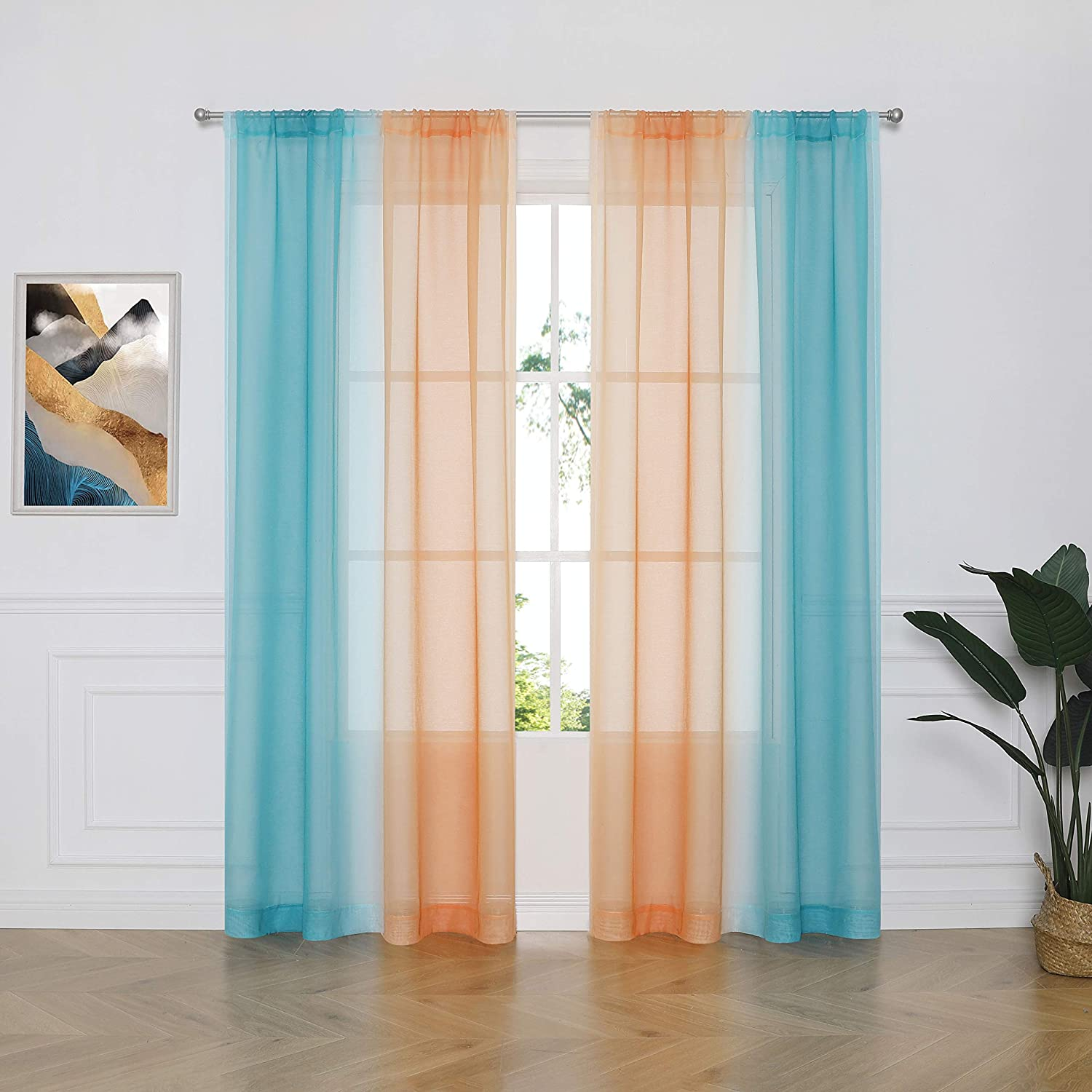 Ombre Sheer Curtain Panel Pairs 95 Inches for Kids, Gradient Voi
