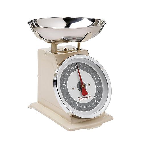 Terraillon Balance de Cuisine, Tare Manuelle, Grand Cadran, Portée 5 kg, Tradition 500, Pop Crème