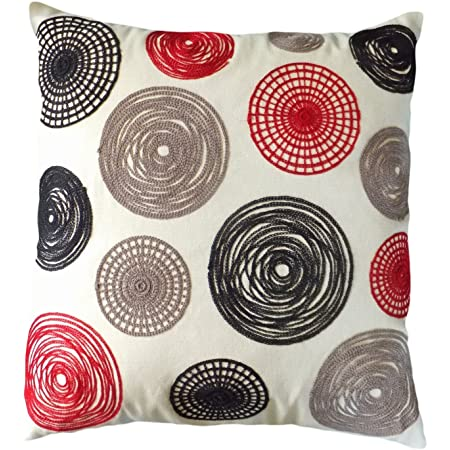 Blue Dolphin Decorative Knitting Yarn Embroidery Multi Color Circles Throw Pillow Cover 18 Red Black Home Kitchen