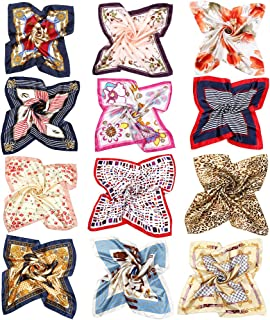 12pcs Women Small Square Satin Scarf Mixed Neck Head Scarf Set 19.7 x 19.7 inches