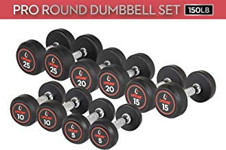 Lifeline Premium Pro Round Rubber Dumbbell Fitness Training Weight Set (Multiple Weight Sets Available)