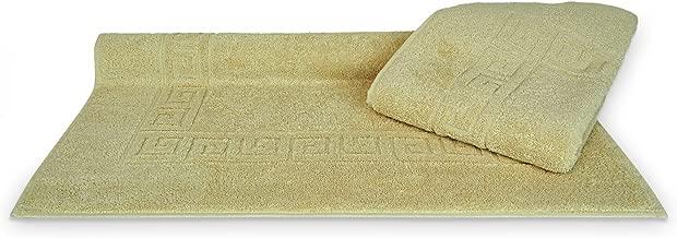 100% Turkish Cotton Luxury Hotel & Spa 25x39 Greek Key Design Bath Mat (2 Pack, Beige)