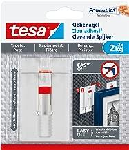 tesa Verstellbarer Klebenagel (für Tapeten und Putz 2 kg, Höhenverstellbarer, selbstklebender Wandnagel, bis zu 2kg Halteleistung pro Nagel) 2er Pack