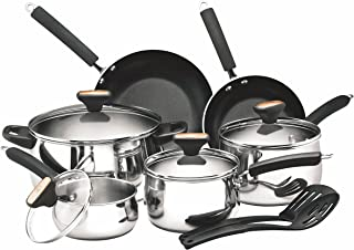 Paula Deen 76362 Signature Stainless Steel Cookware Pots and Pans Set, 12 Piece