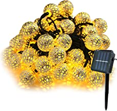 Thanksgiving Day Solar String Lights - 23Ft 50 LED Outdoor Metal Bulb Patio Fairy Lights, 2 Modes, Waterproof Hanging Ligh...