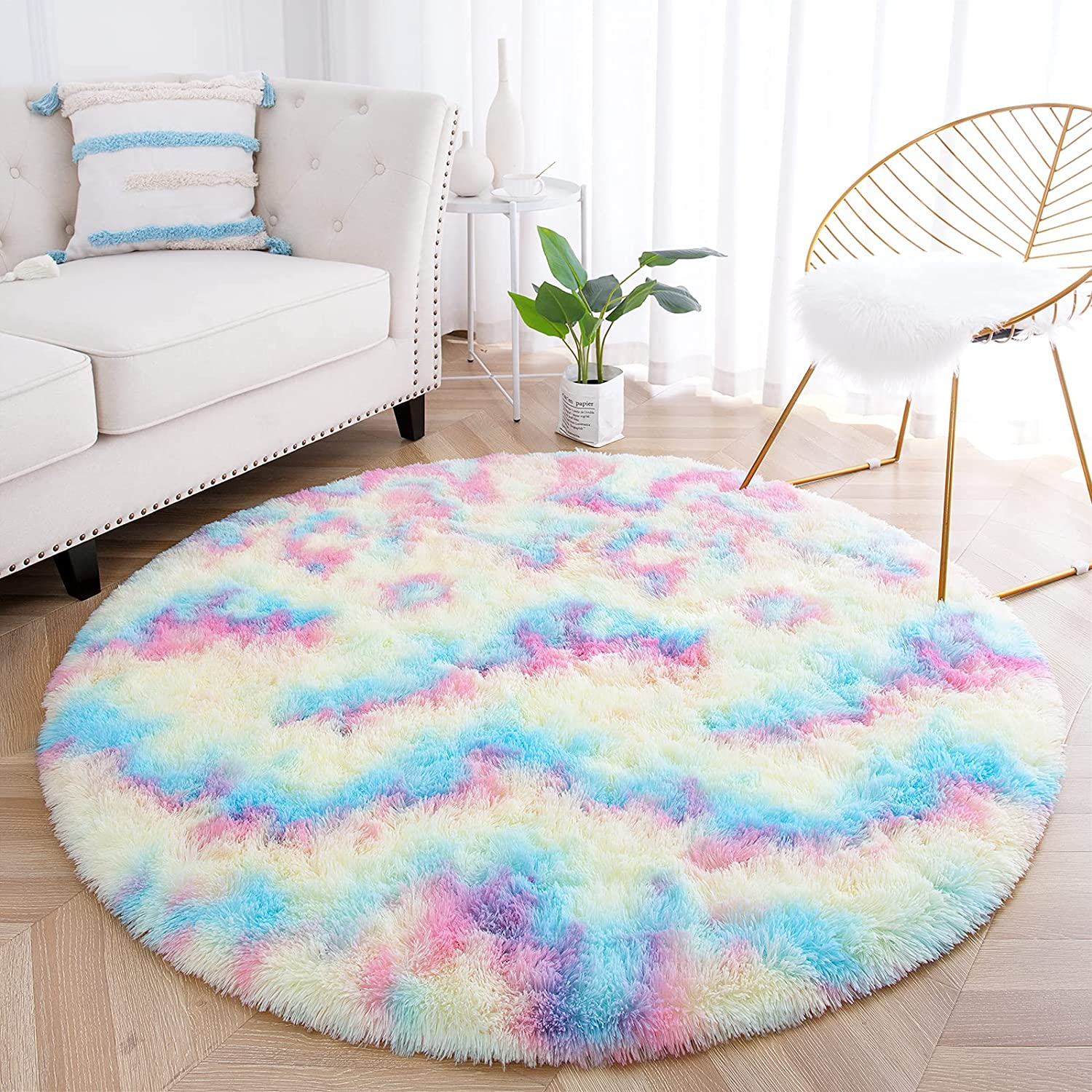junovo Soft Round Rainbow Area Rugs for Girls Room, Fluffy Colorful Circle Rugs for Kids Bedroom, Cute Circular Rug Princess Castle Plush Shaggy Carpet for Kids Teen Baby Room Nursery Home Decor, 4ft