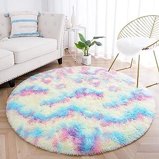 junovo Soft Round Rainbow Area Rugs for Girls Room,...