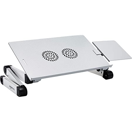 Amazon Basics Portable Adjustable Aluminum Laptop Stand with CPU Fans, Silver