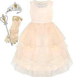 Sunny Fashion Flower Girls Dress Rhinestone Tulle Wedding Pageant Bridesmaid Size 5-12 Years