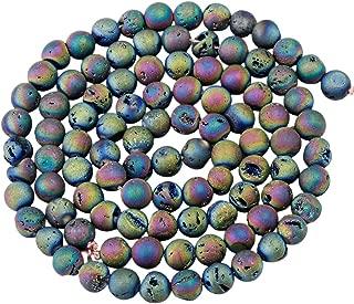 SUNYIK Rainbow Aura Titanium Coated Druzy Geode Loose Bead,for Jewelry Making,Crystal Quartz Agate Stone,8mm 15
