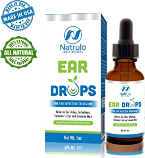 Natrulo Natural Ear Drops for Ear Infection Treatment -Homeopathic, Herbal Eardropsfor Adults, Children & Pets - Relieves Ear Aches, Infections, Swimmer's Ear, & Loosens Wax - Kids Safe, Made in USA