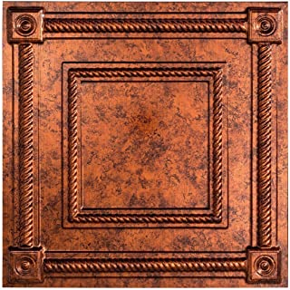 Fasade Easy Installation Coffer Moonstone Copper Lay In Ceiling Tile / Ceiling Panel (2' x 2' Tile)