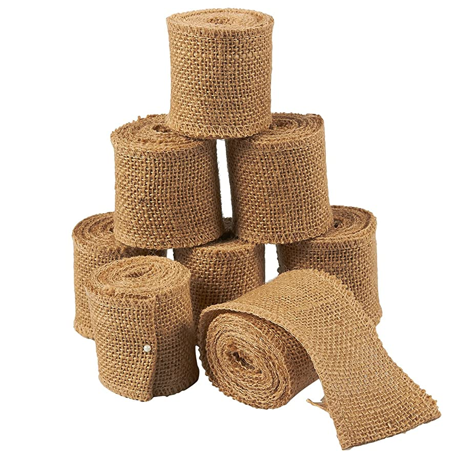 Jute Burlap Ribbon – 8-Pack Rustic Ribbon Rolls, Natural Ribbon Spool for Wedding, Interior Decoration, Gift Wrapping, DIY Crafts – Brown, 78 x 2.2 inches