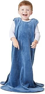 GUNAMUNA günaPOD® Baby Sack Cozy Fleece Sleep Bag with Diaper-Zipper WONDERZiP®, Medium Weight (Denim Blue, 24-36 Months)