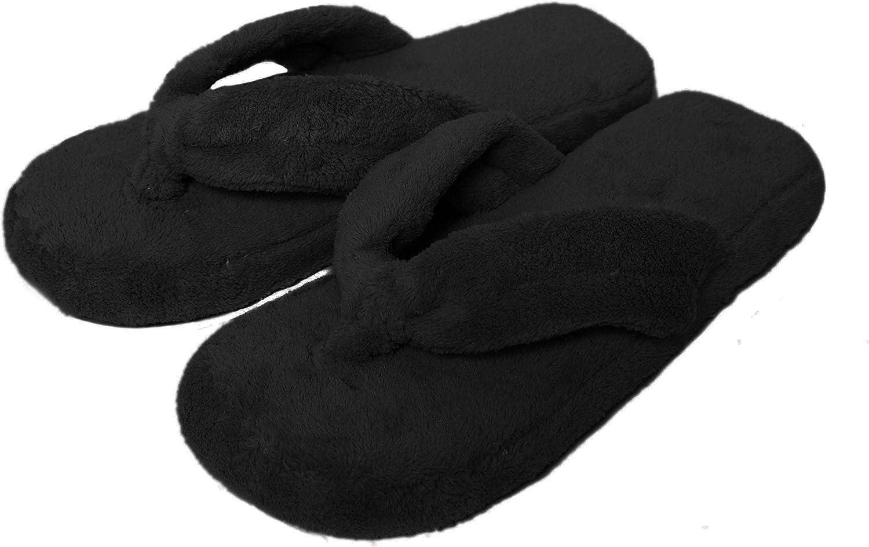 Coral Fleece Memory Foam Flip-Flops Slippers for Women Non-Slip Outsole Red