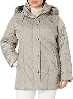 London Fog Women's Down Coat with Diamond Quilt, Pearl, X-Large