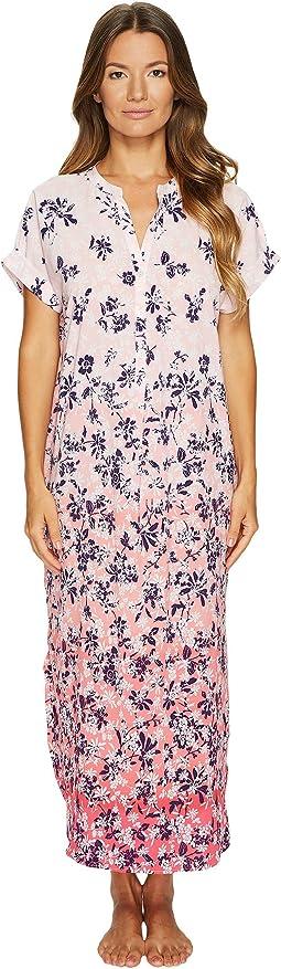 Oscar de la Renta Pink Label Printed Stretch De Chine Floral Caftan